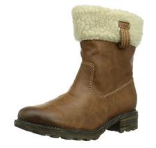 Tamaris Womens UK 7 EU41 Brown Fleece Lined & Trim Zip Up Ankle Boots 1-26426-23