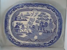 RARE? LARGE ANTIQUE GODWIN STAFFORDSHIRE WILLOW PATTERN MEAT PLATE c1831-41? A/F