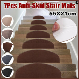 7 Pcs/Set Carpet Stair Treads NON-SLIP Mats/Rugs 55X21cm PVC Self-adhesive  A