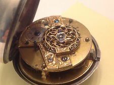 Antique Fusse Chain Pocket Watch Hand Crafted Key Wind Late1700-1800's Hallmarks