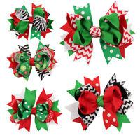 12cm Girl Christmas Bowknot Hairpin Xmas Holiday Gift Ribbon Hair Bow Clip Decor