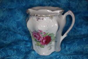 Rare Left Hand Vintage White Pink Rose Floral Bavarian Tea Strainer Cup Mug