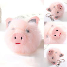 Women Pink Pig Head Imitated Rabbit Fur Ball Keychain Pom Key Chains Car Keyring