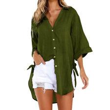 Womens Cotton Loose Button Up Long Shirt Dress Ladies Casual Tops Blouse DA