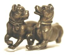 Playing Dogs with collar ~1800's Cold Painted Bronze Antique ~ Meriden B. Co.