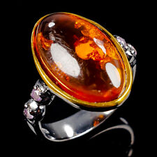 Handmade Natural Amber 925 Sterling Silver Ring Size 8.5/R113294