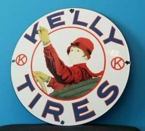 VINTAGE KELLY TIRES PORCELAIN SERVICE STATION AUTO GAS DEALER PUMP SIGN