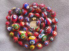 "25"" Vintage Venetian Murano Millefiori Bead Necklace Colorful Red Graduated"