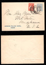 1923 Portugal Cover from Lisbon to USA. Ceres 10c + 90c. Hotel Cover.
