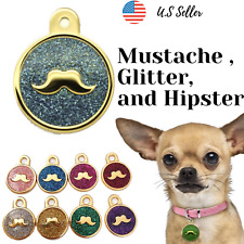 Buy 4 Get 1 Free√ Mustache Hipster Dog Tags Pet Tag Cat Tag Engrave Personalized