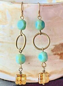 Bronze, Honey  & Turquoise Bead Long Dangle Earrings. Boho Chic.