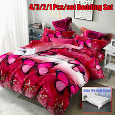 Bedding Set Christmas Red Butterfly Reactive Print Duvet Quilt Cover