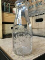 Vintage Pint Milk Bottle M. Shier Dairy Company Chicago Illinois 1930 Roosevelt