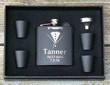 8 Personalized Flask Gift Set Groomsmen Groomsman Best Man Engraved Wedding