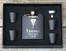 3 Personalized Flask Gift Set Groomsmen Groomsman Best Man Engraved Wedding