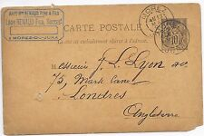 FRANCE TRADE POST CARD 12/5/1891;MOREZ - LONDON;PARTIAL HOODED RECEIVED.