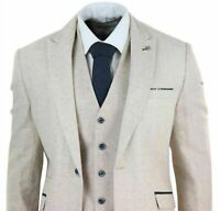 Men's Wool Tweed 3 Piece Vintage Suit Cream Retro Classic Formal Wedding Tuxedos