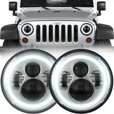 """7"""" Chrome Halo LED Projection Headlights for 1997 - 2018 Jeep Wrangler JK JKU TJ"""
