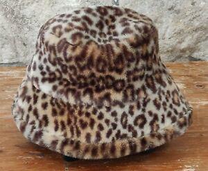 ❤ ST MICHAEL Hat Ladies Brown Faux Fur Animal Print Bucket Cossack Autumn Winter