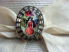 Victorian Fairy Lady Cabochon On Old Brass Finish Hatpin