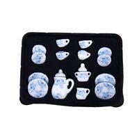 Dollhouse Miniature Tea Set, Ceramic, Blue & White, 17 pcs K2I3