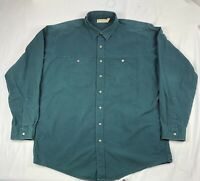 Vintage LL Bean Canvas Snap Front Work Shirt Size XL Tall USA Made Teal Green