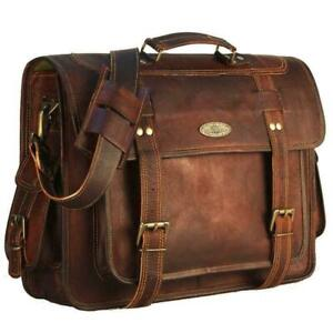 Men's Large Office Laptop Bag Brown Vintage Leather Satchel Briefcase Messenger
