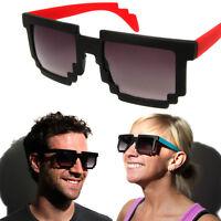 Retro 8 BIT PIXEL SUNGLASSES PIXELATED Video Game Geek Party Glasses