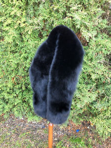 Jet Black Fox Fur Collar 63' (160cm) Saga Fox Furs Collar Stole