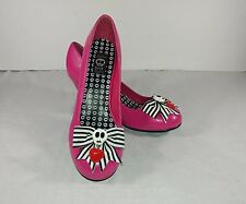 Jessica Louise Pink Slip On Skull Bow Heart Dress Heels Womens Size US 7?