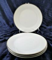 "Gibson Everyday Housewares White Gold Trim Gilt 7.5 "" Salad Plates Set of 4"