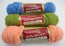 Fleisher's Win-Sport 100% DuPont Orlon Acrylic Yarn - 3 Skeins: Peach Green Blue
