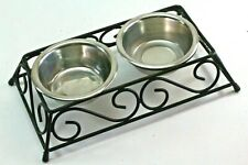 New listing Slightly Elevated Metal Frame Cat Food & Water Feeder With Stainless Steel Bowls