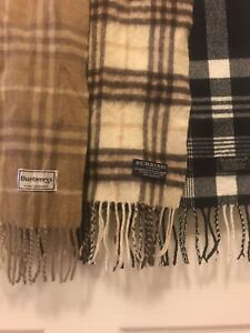 3 Vintage Burberrys Scarfs Brown Black And Cream Check Lambswool Authentic