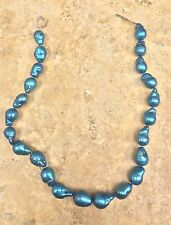 "11-15MM CULTURED FRESHWATER BLUE BAROQUE PEARL 18"" NECKLACE SILVER HSN $199"
