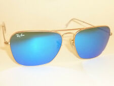 New RAY BAN Caravan Sunglasses Matte Gold Frame RB 3136 112/17  Blue Mirror 55mm