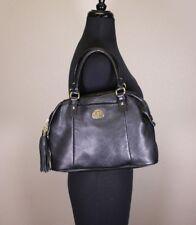 Tommy Hilfiger Black Pebbled Leather Tote Satchel Doctor Bag Style