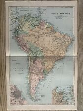 1899 SOUTH AMERICA ANTIQUE MAP BY G.W. BACON 121 YEARS OLD