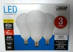 Feit Electric 40W 5000K E12 Candelabra A15 LED Light Bulbs 300 Lumens - 3 Pack