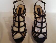 Jeanne Beker black studded heel slingback cocktail, wedding shoes size 9