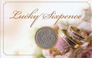 Lucky Old Sixpence Coin Wedding Bride Groom Love Happiness Keep Sake Gift