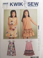 "Kwik Sew K3903 Pattern Girls//18/"" Dolls Made to Match Dresses XS-XL BN"