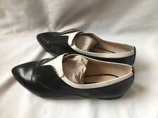 Women's French Connection Black And White Leather Flats Shoes , UK 5 EU 38