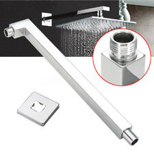 """16"""" 40cm Square Ceiling Rain Shower Head Chrome Wall Mounted Extension Arm"""