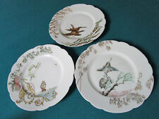 H & Co Haviland Limoges Three Salad Plates Birds And Flowers