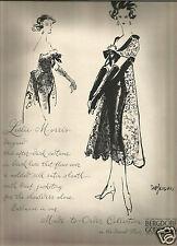 50's EM Larson Illustrated Bergdorf Goodman Fashion Ad  1958