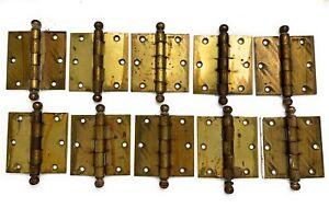 "Vintage Lot of 10 Stanley 3.5x3.5"" Ball-Tip Butt DOOR HINGES Brass Plated Steel"