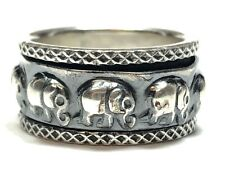 Vintage & Patina Ladies Sterling Silver Elephant Spinner Ring - Size 5.5