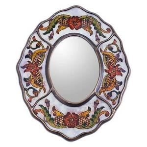 Aged Wall Mirror Reverse Painted Glass 'White Colonial Wreath' NOVICA Peru