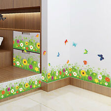 Flower Grass Butterfly Clover Skirting Line Flora Decal Kitchen Wall Sticker Art